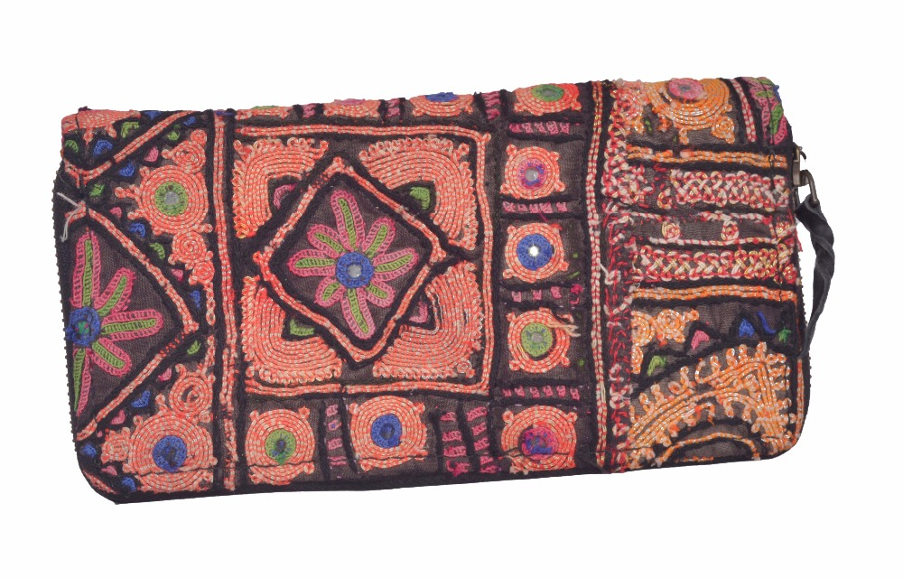 INDIAN HANDMADE EMBROIDERED PURSE BEAUTIFUL WOMEN'S CLUTCH