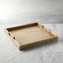 Wooden Table Top trays / Serving Trays With Metal Handle