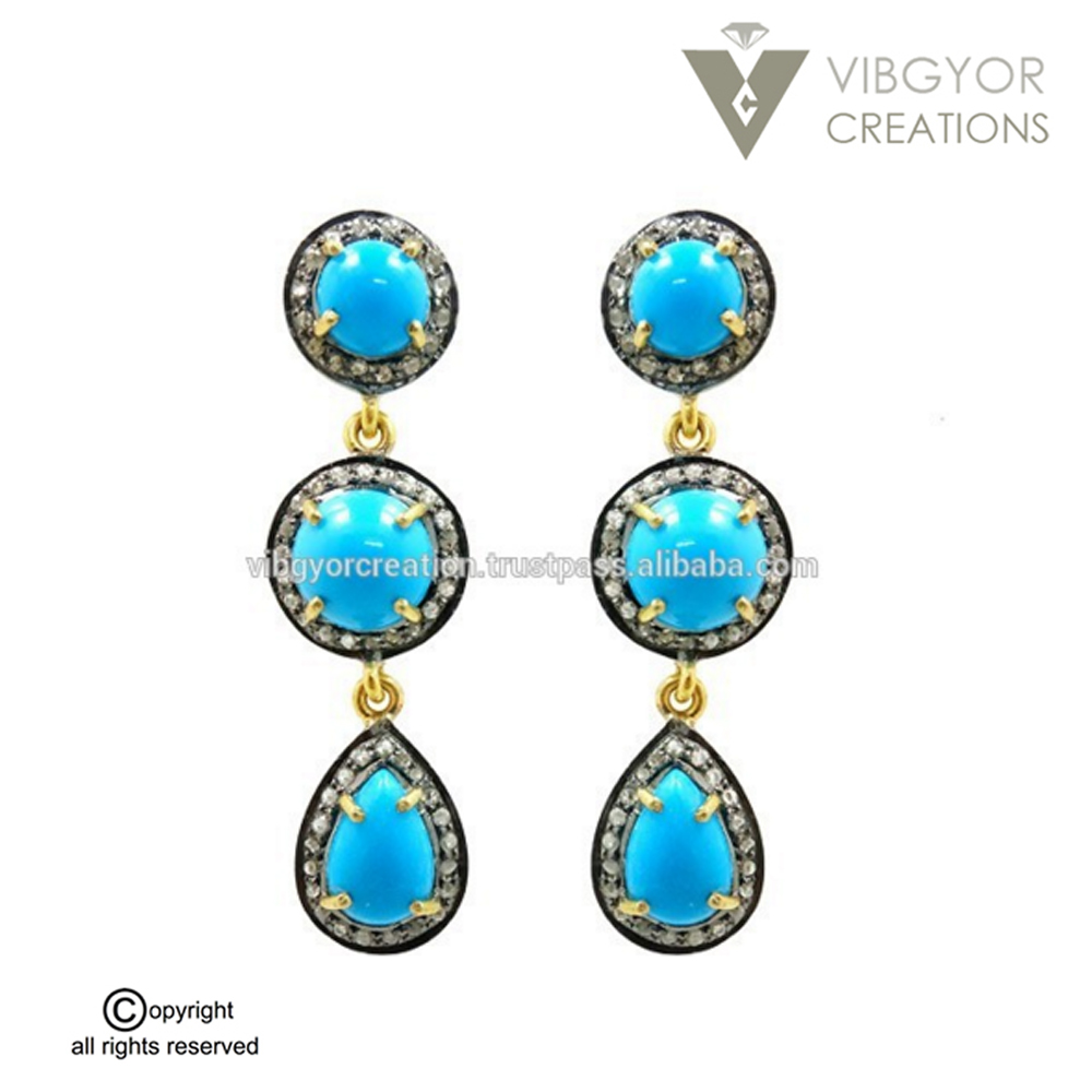 Turquoise Gemstone pave diamond 14k gols 925 sterling silver jewelry stud earrings