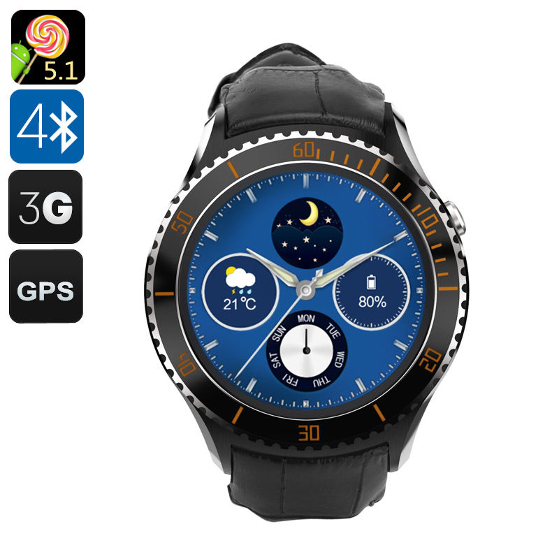 IQI I2 Android 5.1 Smart Watch - Quad Core CPU, Wi-Fi, Bluetooth 4.0, Play Store