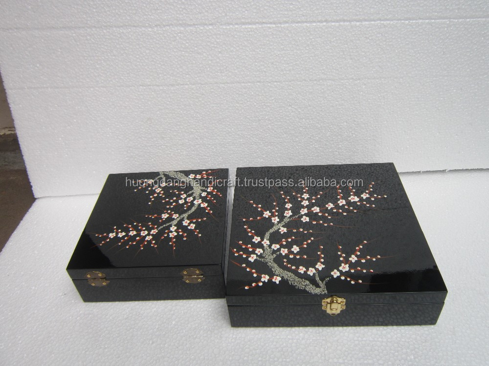 High quality Lacquer round box with seashells inlaid from Vietnam