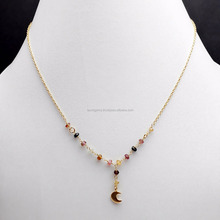Beautiful Moon and 925 sterling silver Rosary Chain With 14 pieces 3 mm Faceted Round Multi Tourmaline Gemstone Beads Necklaces