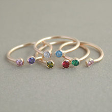 Dual Birthstone Gold Two Stone Gemstone Stacking Couples Gold-Filled Horseshoe Ring