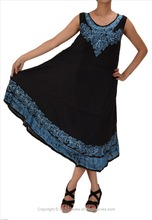 Skirts & Scarves Women's Rayon Batik Print Embroidered Sleeveless Dress /Tunic