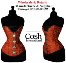 CORSET WHOLESALE : Overbust Candy Red Satin Clasped Corsets | COSH International