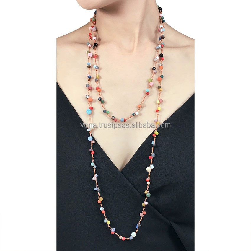 Glass Bead Necklace Jewelry Necklace (REN1601-150cm)
