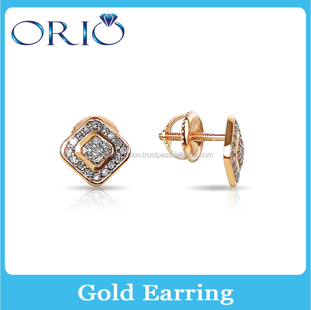 Wholesale Jewelry 14k Gold Earring Small Children Stud Earring Hot Selling Unisex Earring with Stone