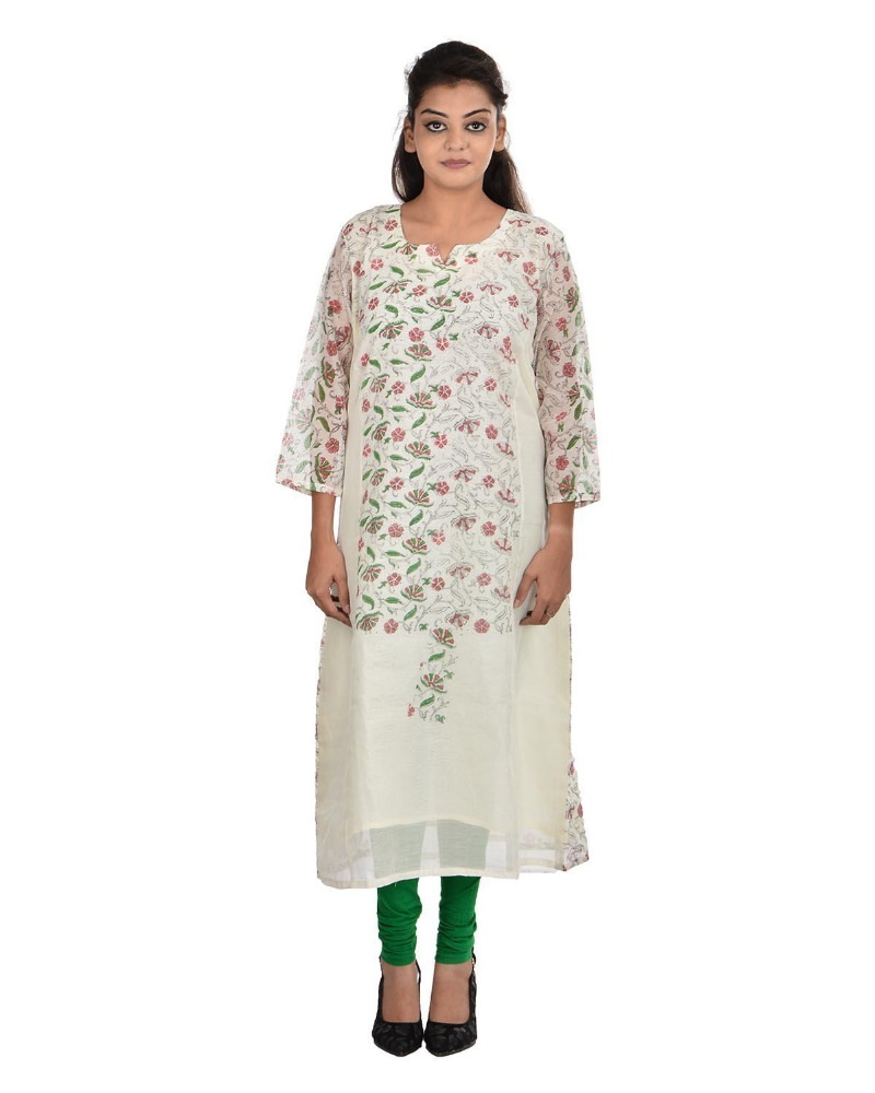 PLus Size Cotton Round Neck Creme Kurti For Women ( DMK_00090 )