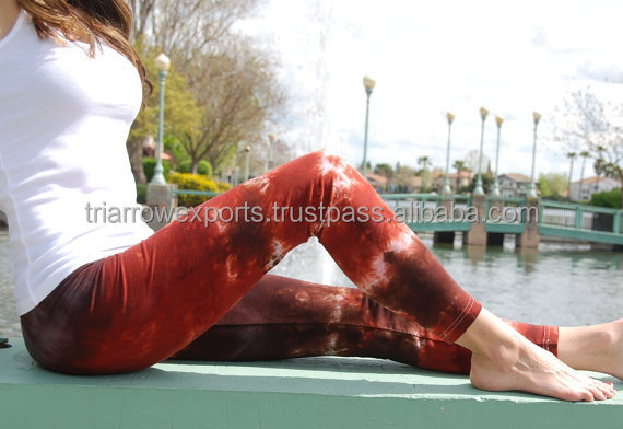 Chocolate Cinnamon Brown Tie Dye Yoga Leggings by Splash Dye Activewear