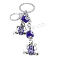 Evil Eye Key Chain Zinc Alloy with Lampwork & Iron plated evil eye & with rhinestone nickel lead & cadmium free 33x145x14mm Hol