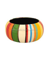 Multi-Colored cheap hand painted wholesale plain Wooden Bangle Bracelets