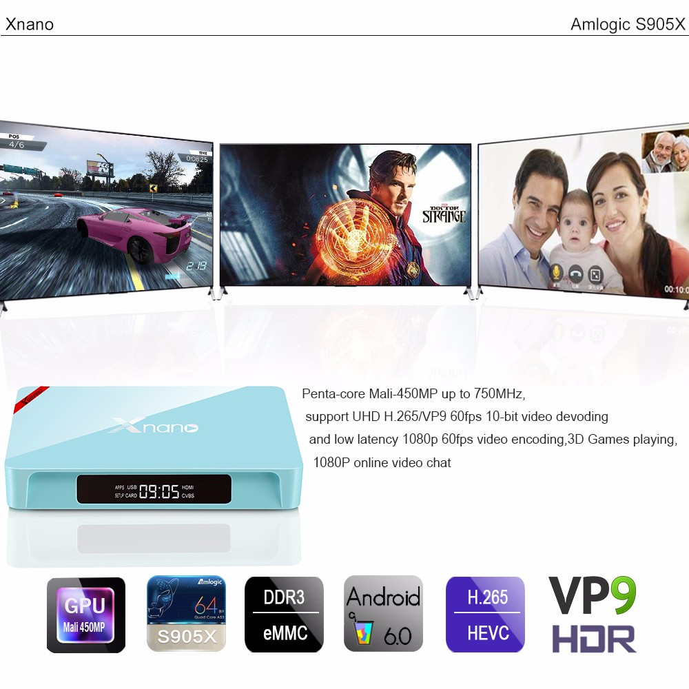 2017 Newest Amlogic S905x Quad Core Kodi Android 6.0 Smart TV Box