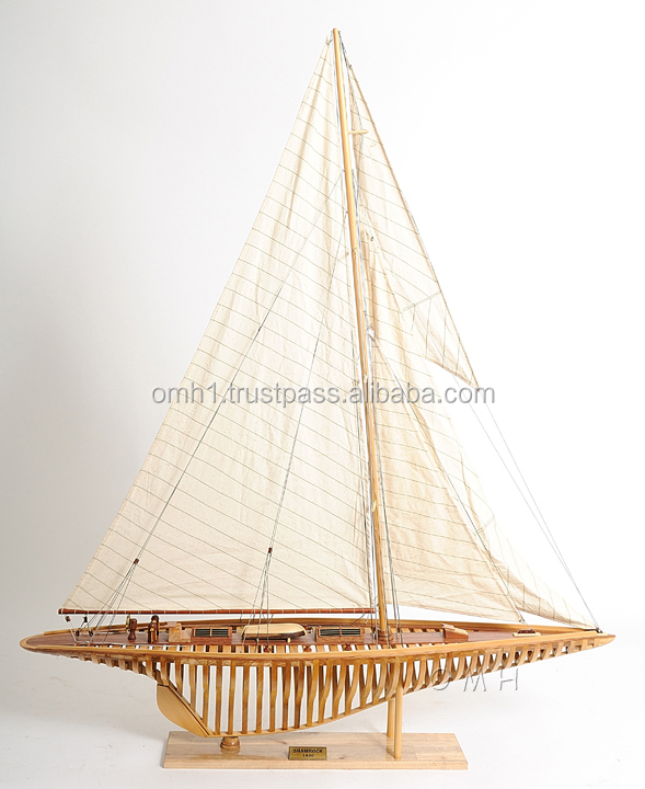 SHAMROCK(SEE TROUGH) L100 cm - Handmade wooden sailboat model