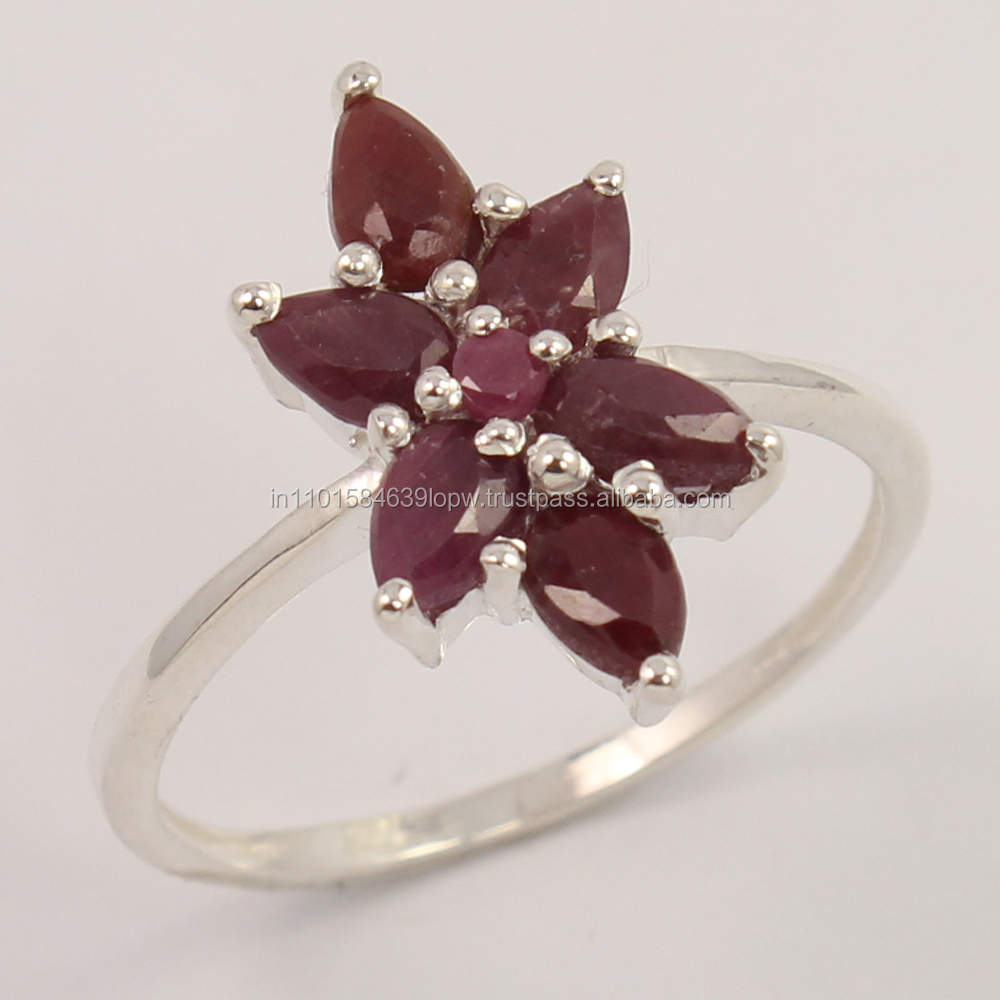 925 Sterling Silver Jewelry Natural RUBY Gemstone Ring Size UK Any ! Best Gift