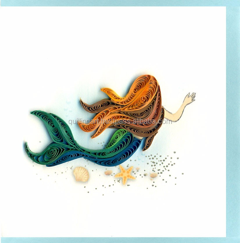 greeting card / handmade card - quilling paper/ mermaid picture