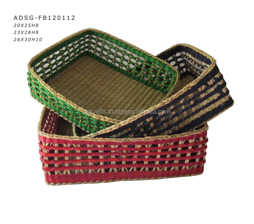 wholesale factory vietnamese seagrass combined rattan basket