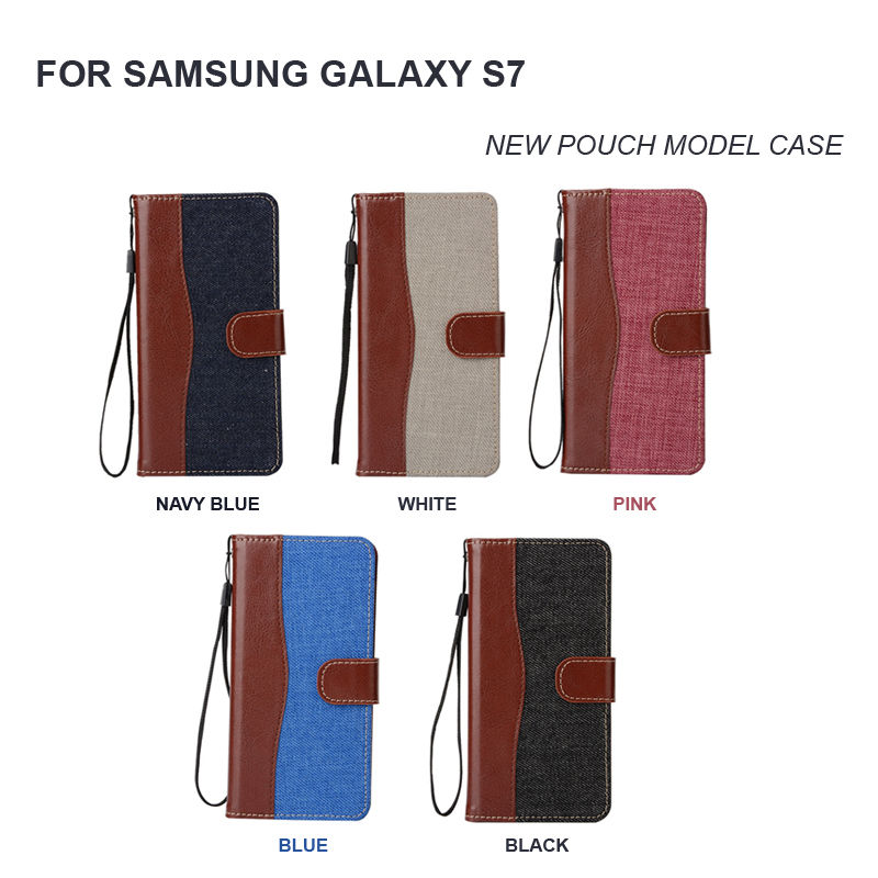 Jean Canvas Wallet Leather Pouch Flip Bag phone Case for Samsung Galaxy S7