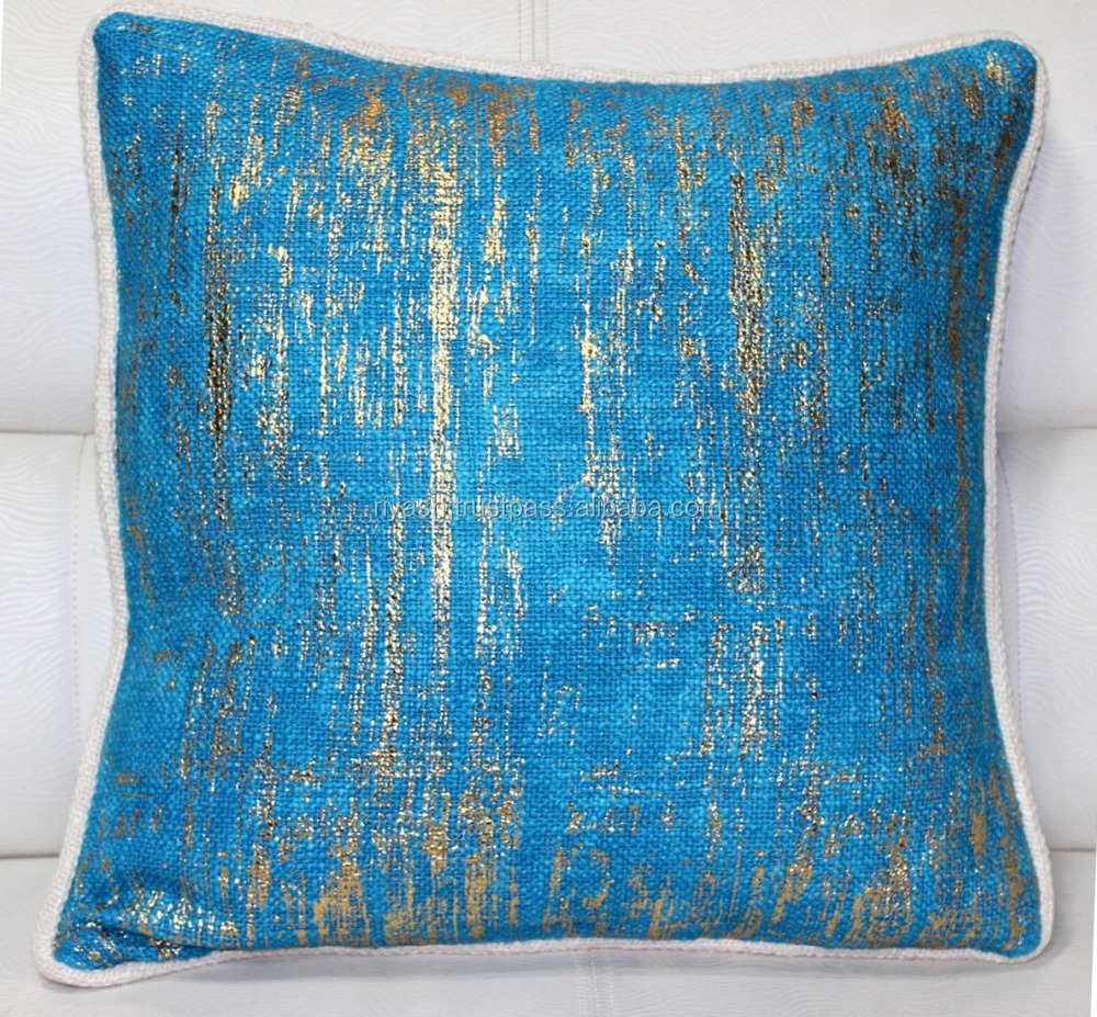 Weaved Heavy Cotton - Linen look Foiled Cushion with Off White Pieping - 18 inch sq.