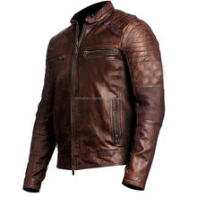 Cafe Racer Vintage Motorcycle Bikei Brown Leather Jacket New Mens