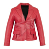 Girls Women Ladies Red Leather Jacket