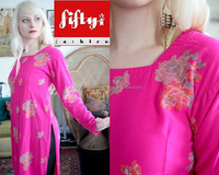 SALE Vintage hot pink bright fuchsia long sleeve kurti tunic dress with heavy embroidery bohemian ethnic folk boho 2015