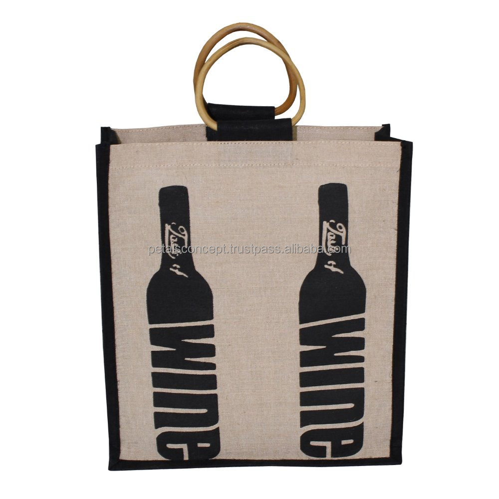 Excellent quality low price imported wine jute tote bag