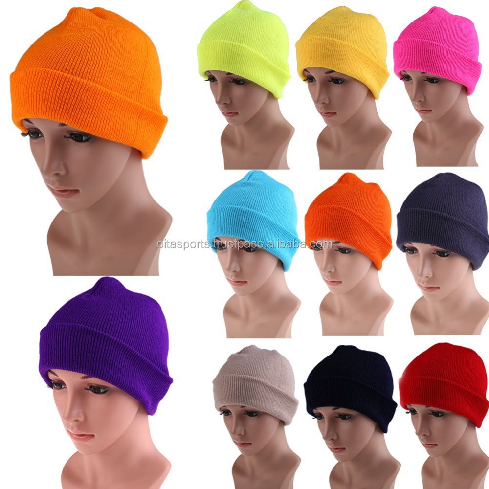 Men's Women Beanie Knit Ski Cap Hip-Hop Yellow Winter Warm Unisex Wool Hat