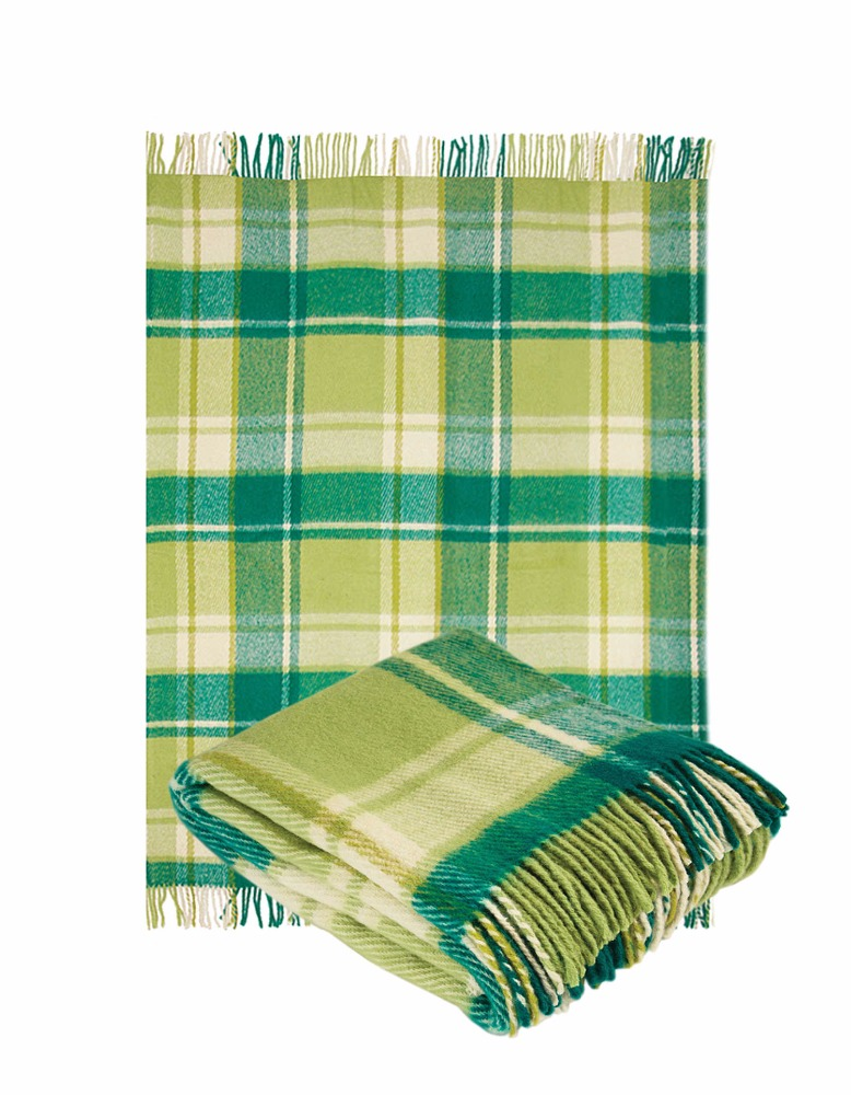 100% Wool Throw Blanket with fringe 55x79 in