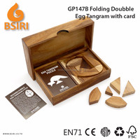 Brain Teasers Wooden Doubble Egg Tangram with Card Puzzle Pieces