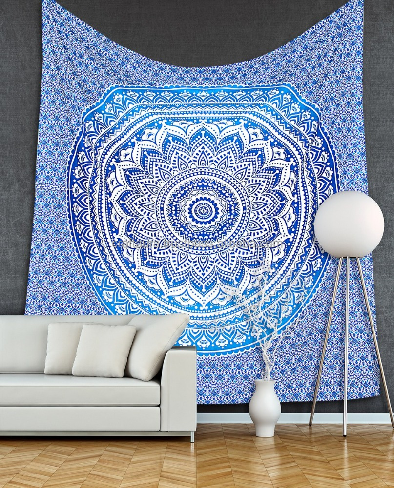 Blue Ombre Mandala Tapestry Indian Wholesale Cotton Fabric Wall Hanging Hippie Decor Bohemian Bedsheet Queen Size Wall Tapestry
