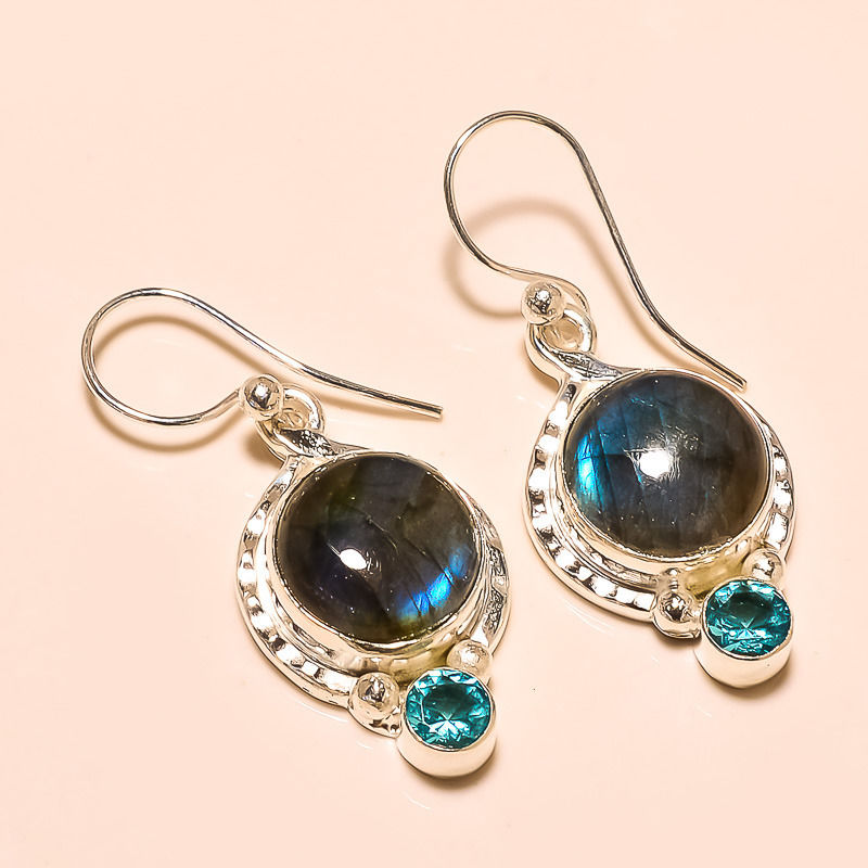 Wonderful !! Natural Fire Labradorite Gemstone And Blue Topaz Gemstone Jewellery Earring,Handmade Silver Plated Artisan Jewelry