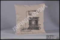 Vintage old telephone print canvas cushion, Vintage cushion