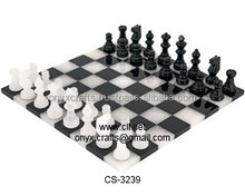 Black & White Marble Borderless Chess Sets