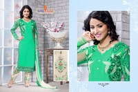 Designer Sea Green Patch work straight cut Party wear salwar kameez