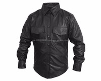 REAL LEATHER MEN SHIRT FULL SLEEVE MILITARY/POLICE STYLE All Sizes/Colours Available