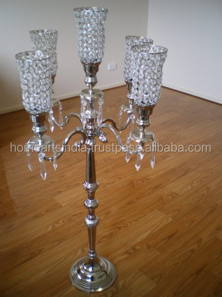Crystal Wedding Centerpiece Candelabra 5 Candle 5 Light Candelabra Hurricane Candelabras And Flower Stands Silver Plated Candela