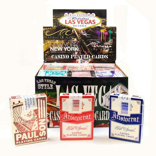 Assorted Used Las Vegas Casino Playing Card w/ PDQ Display