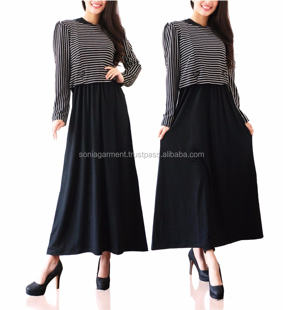 Striped muslim gamis abaya long dress maxi dress long dress for women long sleeve
