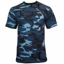 Blue CAMO Army T-Shirt - ALL SIZES - Cotton Camouflage Tops