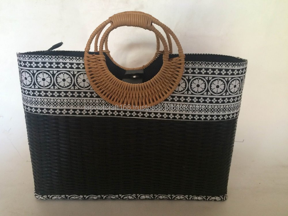 High quality best selling black bamboo shopping bag with rattan handles from vietnam