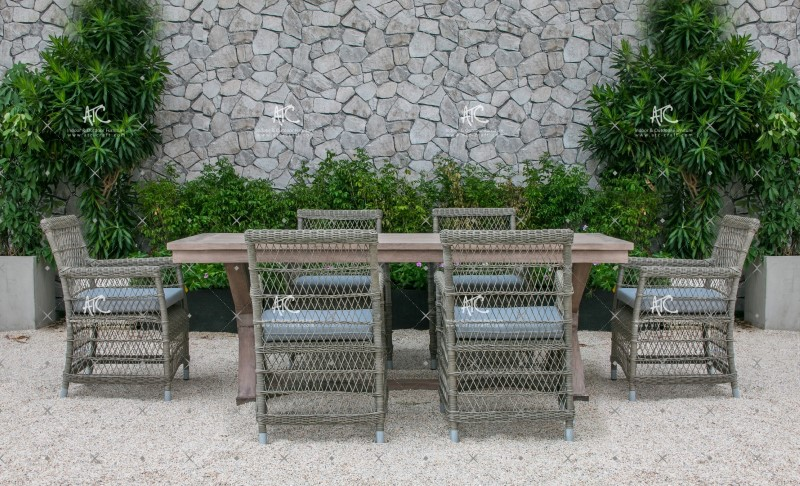 Nature Inspired Design Patio Garden Dining Set Poly Rattan Wicker Furniture