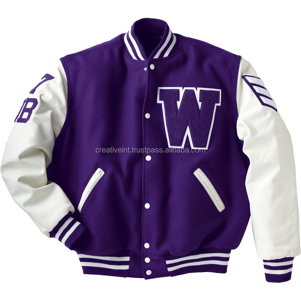 varsity jacket with patches of letter W or C patches for garment