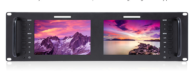 "7"" 3RU IPS LCD Display Rack Mount Dual Monitors with 3G-SDI"