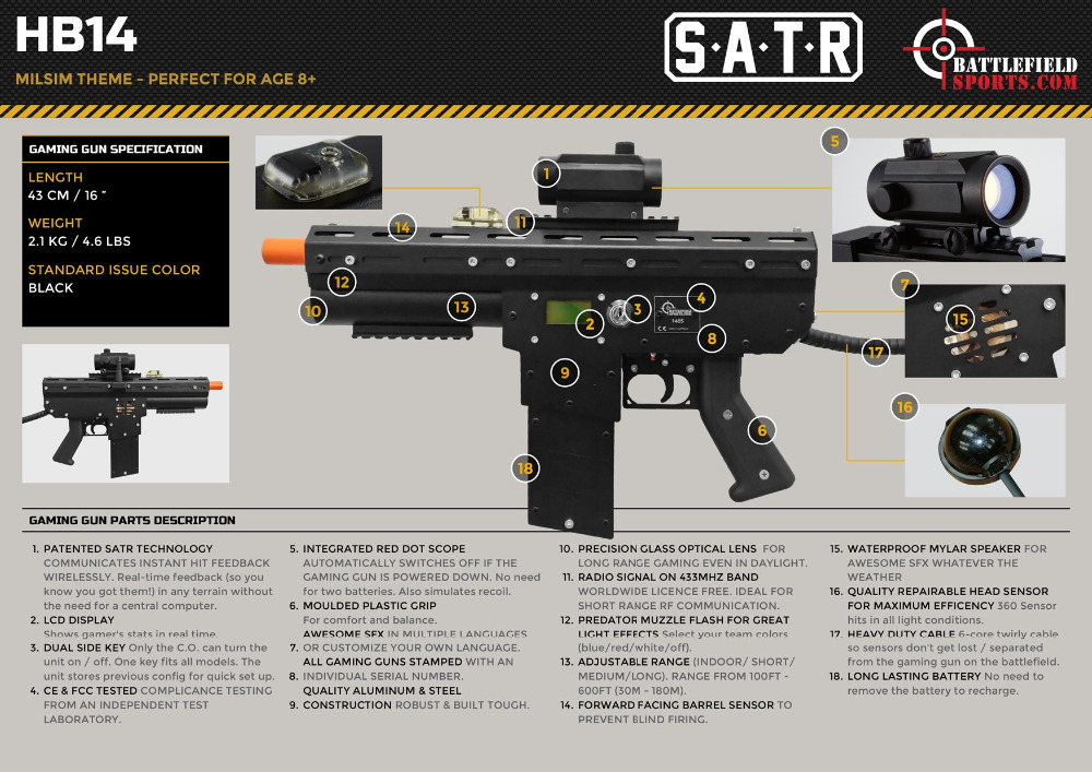 Laser Tag Equipment - Honey Badger (HB14)
