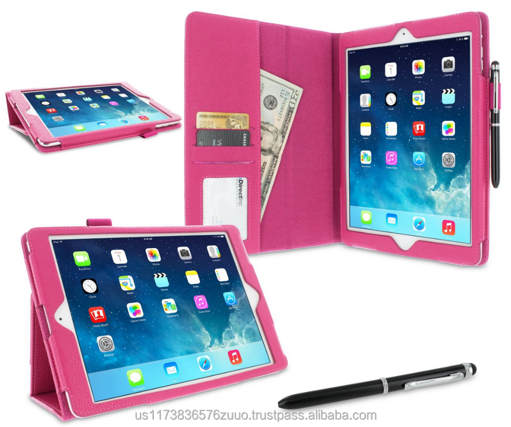Dual-Station Slim Folding Premium PU Leather Folio Case, Smart Cover Auto Sleep/Wake; for iPad Air 1 roocase (Magenta)