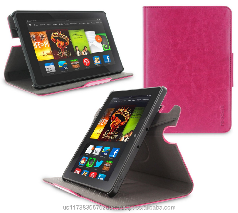 Top Quality roocase ORB 360 Rotating Folio Leather Cover Sleep/Wake Feature for Kindle Fire HDX 7 2013 case Wholesale (Magenta)