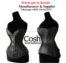 CORSET WHOLESALE : Overbust Black Leather Sexy Fetish & Bondage Corset Supplier