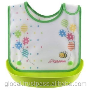 Japan Baby Bib Dining Apron with food catching pocket Green Wholesale