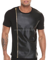 leather t shirt 2015 fashion mens tall tee with front side zippers plain cotton leather sleeve extended t