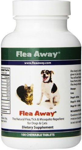 Quality Flea Away Natural Flea, Tick & Mosquito Repellent for Dogs & Cats, 100 chewable tablets